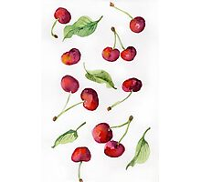Watercolor  cherry. Raster illustration. Photographic Print