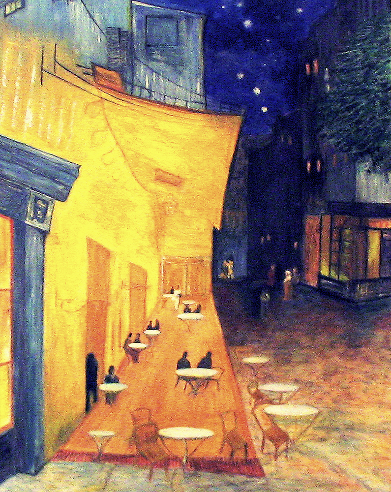 """My Version /  Homage  to Vincent   """"  The Cafe' Terrace  at Night  """"     My Paintings                        by Rick  Todaro"""