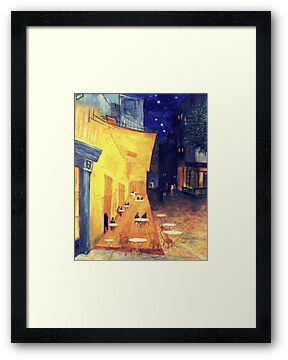 "My Version /  Homage  to Vincent   ""  The Cafe' Terrace  at Night  ""     My Paintings                        by Rick  Todaro"