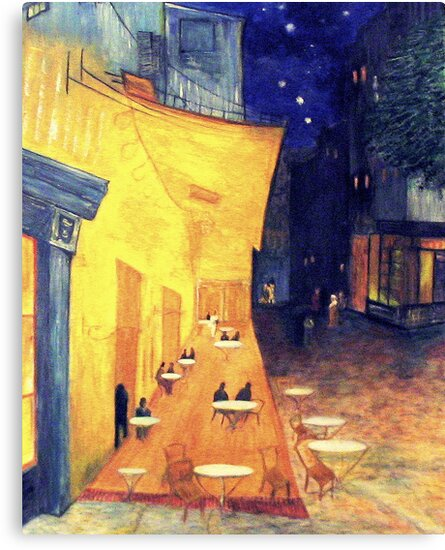 """My Version /  Homage  to Vincent   """"  The Cafe' Terrace  at Night  """"     My Paintings                        by fiat777"""