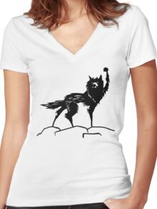 Fantastic Mr Fox Wolf Women's Fitted V-Neck T-Shirt