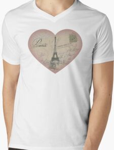 Paris in my heart Mens V-Neck T-Shirt