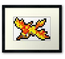 Pokemon 8-Bit Pixel Moltres 146 Framed Print