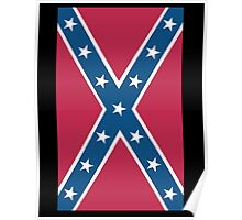 Confederate, Southern Cross, Rebel, Dixie, Flag, on BLACK, America, American, Portrait, Pure & Simple, pre USA Poster