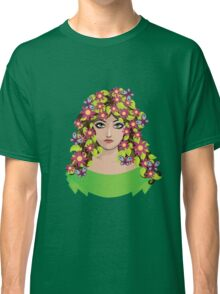 Girl with flowers and butterflies Classic T-Shirt