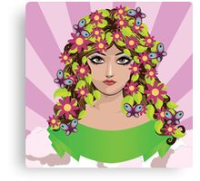 Girl with flowers and butterflies Canvas Print