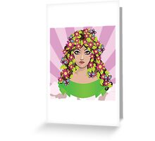 Girl with flowers and butterflies Greeting Card