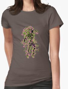 Girl with green floral and flowers Womens Fitted T-Shirt