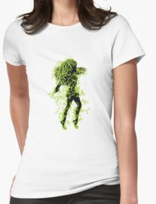 Girl with green floral Womens Fitted T-Shirt