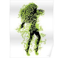 Girl with green floral Poster