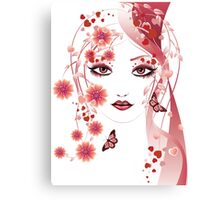 Girl with flowers and butterflies 2 Canvas Print