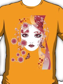 Girl with flowers and butterflies 2 T-Shirt