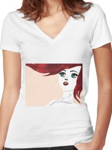 Girl with red hair 4 Women's Fitted V-Neck T-Shirt
