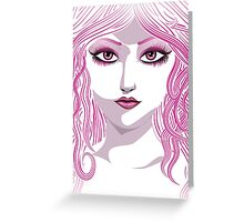 Portrait in pink color Greeting Card