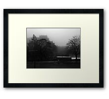 The creepy wee wumman in the bus shelter Framed Print