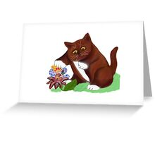 Flower Fairy and Kitten Greeting Card