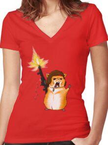 Hamster Rambo Women's Fitted V-Neck T-Shirt