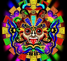 Aztec Warrior Mask Rainbow Colors by BluedarkArt