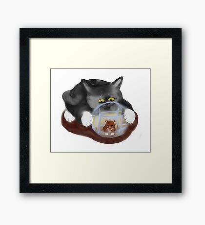Hamster Ball and Curious Kitten Framed Print