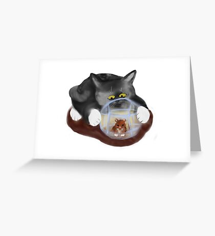 Hamster Ball and Curious Kitten Greeting Card