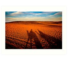 Camel Shadows on The Sahara - Egyptian Landscape Art Print