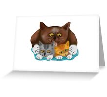 Momma Cat Baths her Two Kittens Greeting Card