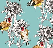 Goldfinches & Asters by Nicola Hanrahan