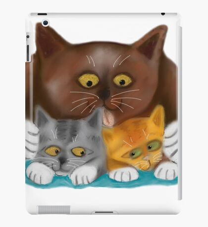 Momma Cat Baths her Two Kittens iPad Case/Skin