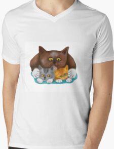 Momma Cat Baths her Two Kittens Mens V-Neck T-Shirt