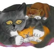 Momma  Cat and her Two Kittens by NineLivesStudio