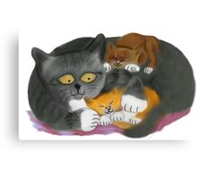 Momma  Cat and her Two Kittens Canvas Print