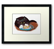 Mouse and Kitten Share the Swiss Cheese Framed Print