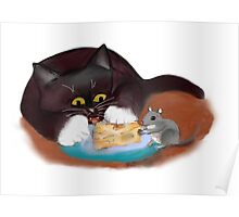 Mouse and Kitten Share the Swiss Cheese Poster