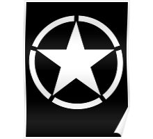 Army, Star & Circle, Jeep, WWII, America, American, Americana,  USA, White on Black Poster