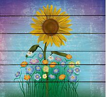 Single Sunflower On Blue Barnboard  Background by Vickie Emms