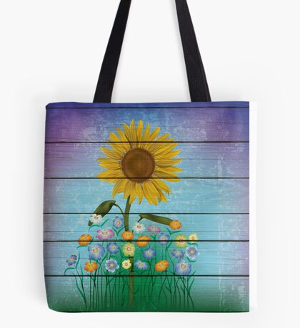 Single Sunflower On Blue Barnboard  Background Tote Bag