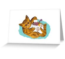 Kitten's Fuzzy Mouse Toy Greeting Card
