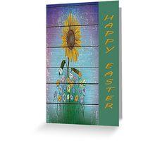 Single Sunflower On Blue Barnboard  Background Greeting Card