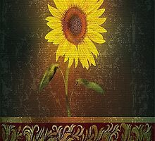 Single Sunflower On Brown Background by Vickie Emms