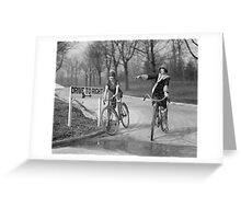 Flapper Girls Riding Bicycles, 1925 Greeting Card