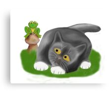 Toadstool Frog and Kitten Canvas Print