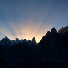 Suns Rays behind Trango Towers by fineartphotos