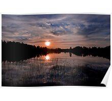 Sunset Fågelsjö Poster