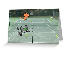 Tennis Cats Greeting Card