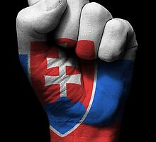 Flag of Slovakia on a Raised Clenched Fist  by Jeff Bartels