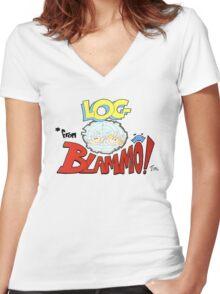 Log from Blammo Women's Fitted V-Neck T-Shirt