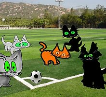 Cats Play Soccer by JohnsCatzz