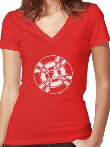 Mandala 42 Yin-Yang Simply White  Women's Fitted V-Neck T-Shirt