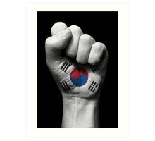 Flag of South Korea on a Raised Clenched Fist  Art Print