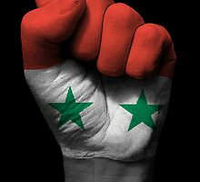 Flag of Syria on a Raised Clenched Fist  by Jeff Bartels